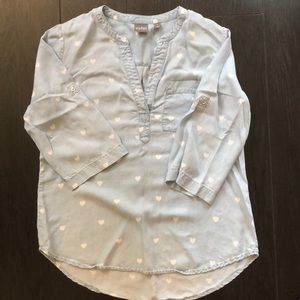 Sweet Heart Chambray Top Size M